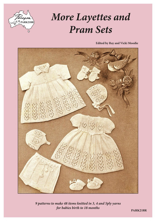 Front cover image of Paragon Heritage Series baby knitting book PARK218R More Layettes and Pram Sets.