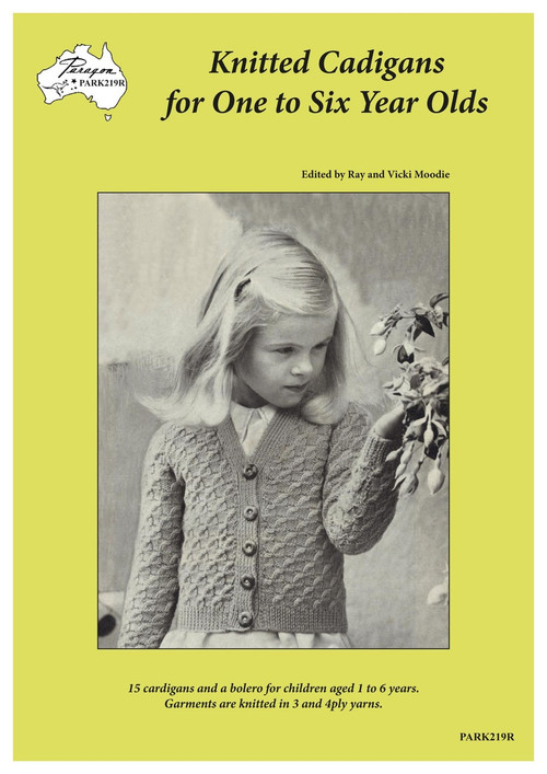 Front cover image of Paragon Heritage series baby knitting book PARK219R Knitted Cardigans for One to Six Year Olds.
