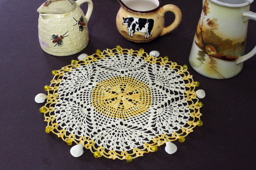 Craft Moods crochet pattern by Vicki Moodie, CMPATC099 crocheted circular fan design jug cover.