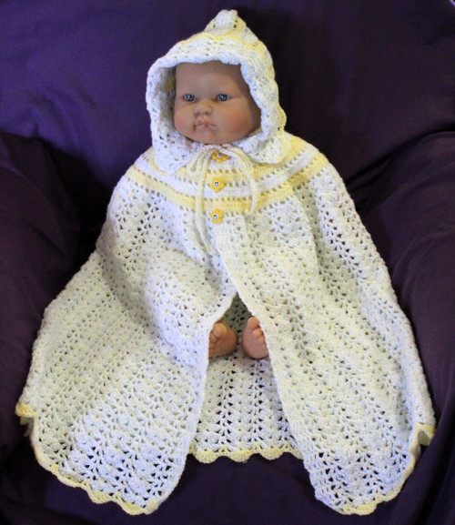 Craft Moods crochet pattern by Vicki Moodie, CMPATC100 Hooded Carrying Cape with circular bodice