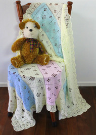 Craft Moods crochet pattern by Vicki Moodie, CMPATC105, Pastel Baby Shawl, uses 4 pastel colours in 3ply baby yarn with an optional fancy edge.