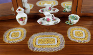 Craft Moods crochet pattern by Vicki Moodie, CMPATC107, Three Piece Daisy Set, featuring rings of daisies.