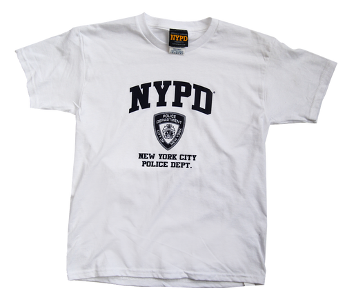 NYPD Kids White Tee with Navy Print