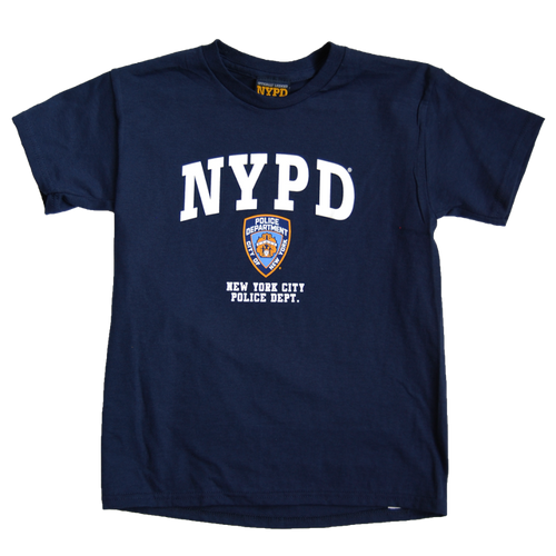 NYPD Kids Navy Tee with White Emblem Print