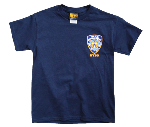 NYPD Kids Unisex Navy Tee with Yellow Back print and Emblem Patch