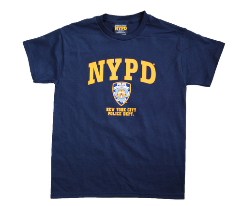 NYPD Kids Navy Unisex Tee with Yellow Chest Print