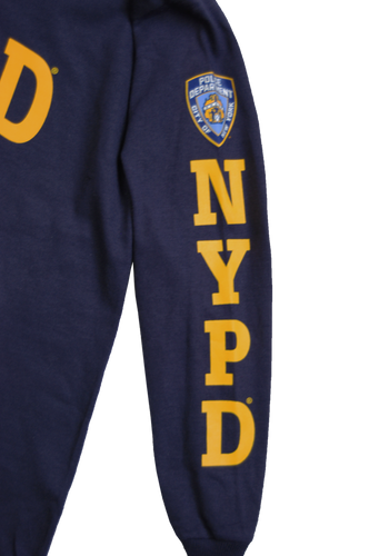 NYPD Kids Unisex Navy Long Sleeve Tee with Yellow chest and Sleeve patch print