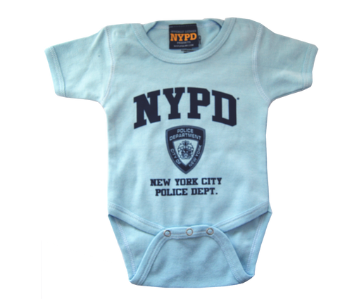 NYPD Infant Onesie Light Blue with Navy Chest Print