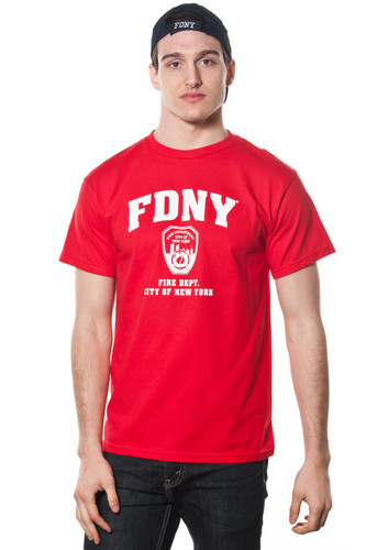 FDNY Adult Red Tee with White Print