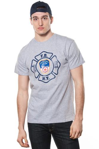 FDNY Mens Grey Emblem Print Tee