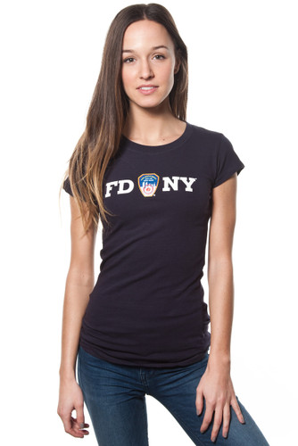 Fdny ladies navy cap sleeve tee with white chest print 16 60