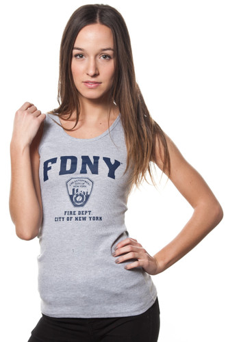 FDNY Ladies Grey Ribbed Tank with Navy Chest Print