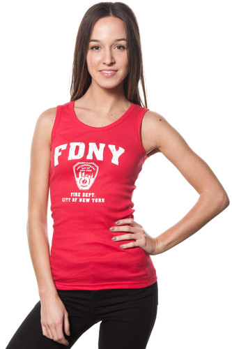 FDNY Ladies Red Ribbed Tank with White Distressed Print