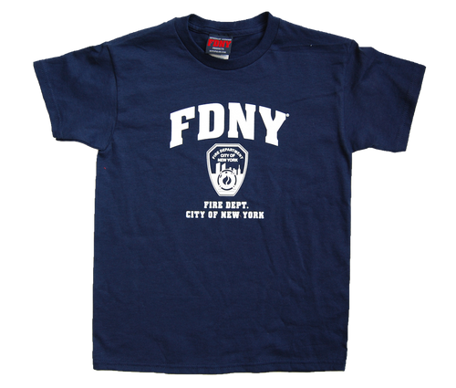 FDNY Kids Navy Tee with White Chest Print