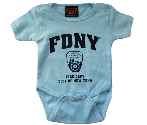 FDNY Infants Light Blue Onesie with Navy Chest Print