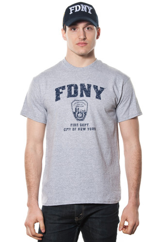 FDNY Adult Gray T-Shirt with Distressed Navy Print