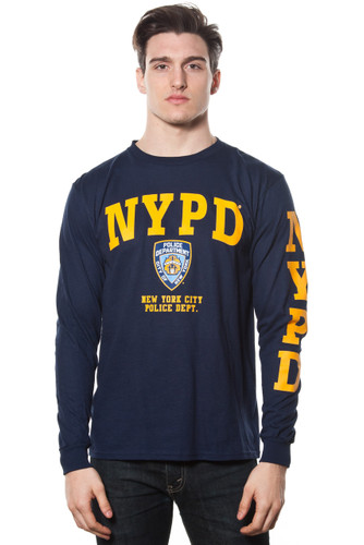 Adult NYPD Long Sleeve Printed Tee Yellow With Logo