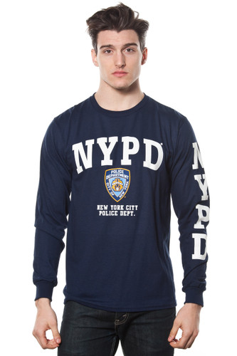 Adult NYPD Long Sleeve Printed Tee with Sleeve Print