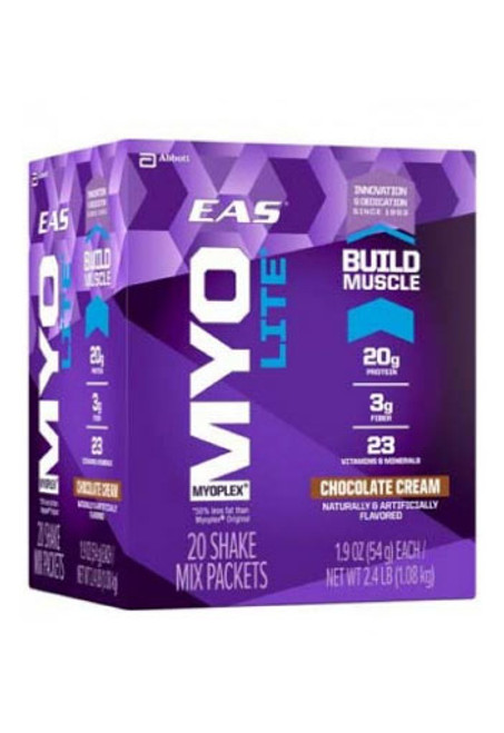 EAS Nutrition Myoplex Lite Protein Shake Mix Packets - Chocolate Cream, (20 Packets)