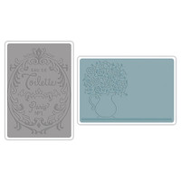 Sizzix Texture Impressions Embossing Folders - Flowers & Perfume Label Set 658969