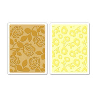 Sizzix Textured Impressions Embossing Folders - Pom Poms & Roses Set 658518