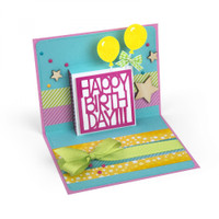 Sizzix Thinlits Die Set - Happy Birthday 3D Drop-ins Rectangle 661847