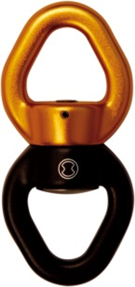 SWIVEL L Ball bearing swivel   Inner eyelet 35mm  Breaking strength 40 kN  Positioned between the rope and the load, the swivel allows the load to turn without twisting the rope.  Excellent performance and reliability due to maintenance free sealed ball-bearings  Designed for two-person loads, up to three connectors can be attached to the ends