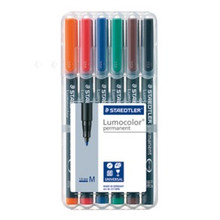 Staedtler Lumocolor Permanent Medium - Box of 6 Colour (1.0mm)