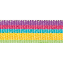 Rico Design Fabric Ribbon - Stripes, Multicolour Neon