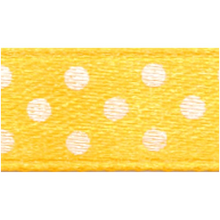 Polka-Dot Satin Ribbon - Yellow with White Dots