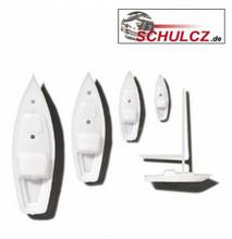 White Polystyrene Sailboats - 6 Units