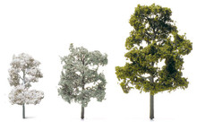 Etched Brass Deciduous Trees - H=12 mm, Pastel Blue-Green, Brown Trunk