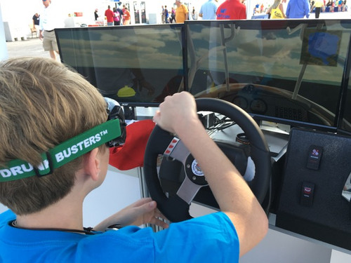 The Drunk Busters Low Level BAC Goggle being used with a safe boating educational program