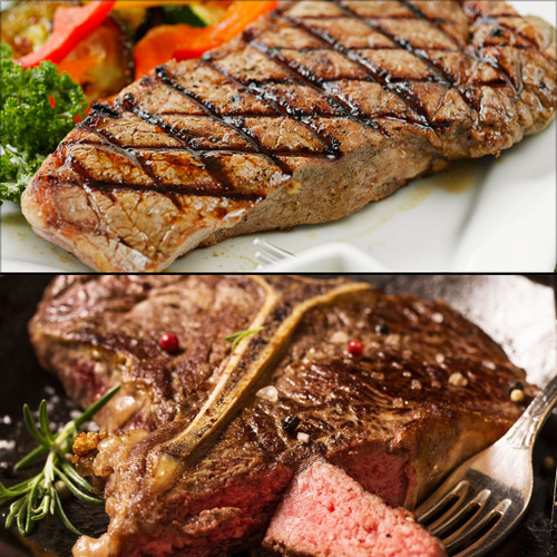 Bison porterhouse steak and bison t-bone steak combo