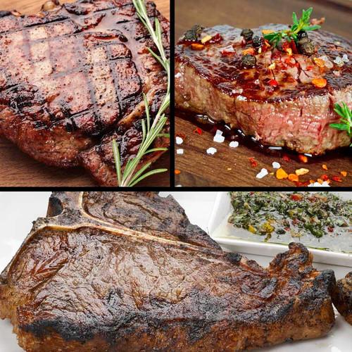 Sayersbrook bison steak sampler of sirloin, t-bone, filet mignon