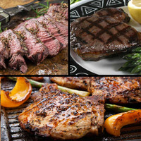 Sayersbrook Sampler of wild boar sirloin, elk sirloin, bison steak