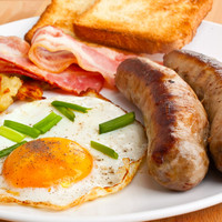 Sausage, bacon and eggs breakfast