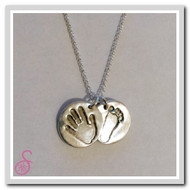 Double hand/foot print necklace