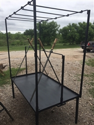 "Fire Table Sword Package Includes Sword Rod Stand, 4 Swords, and 54"" X 12"" Hanging Grill mounts on 63"" X 36"" Fire table"