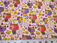 Discount Fabric Cotton Apparel Pink, Purple and Yellow Cats and Fish 400K