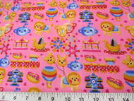 Discount Fabric Cotton Apparel Pink Carnival Day Trains Carousel Lion 301K