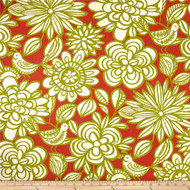 Discount Fabric Richloom Upholstery Drapery Linen Mcvie Mango Floral Birds 11MM