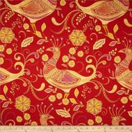 Discount Fabric Richloom Upholstery Drapery Sateen Fantasy Indiar Peacocks 21MM