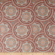 Discount Fabric Richloom Upholstery Drapery Sapphire Coral Medallion 25OO