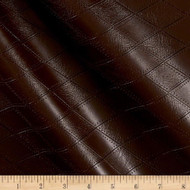 Fabric Richloom Tough Faux Leather Pleather Vinyl Hovland Chocolate Diamond 42PP