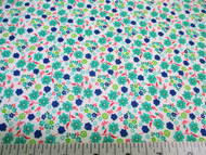Discount Fabric Cotton Apparel Teal, Navy and Red Floral 205J