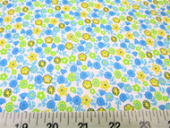 Discount Fabric Cotton Apparel Blue, Yellow and Green Floral 405J