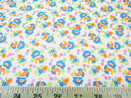 Discount Fabric Cotton Apparel Blue, Orange and Green Floral Paisley 406J