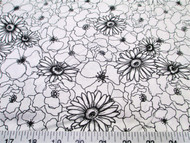 Fabric Quilting Cotton Keepsake Calico Poppy Stitch White and Black Floral 13T