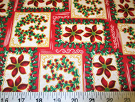 Discount Fabric Quilting Cotton Christmas Poinsettia and Holly Frames 15T